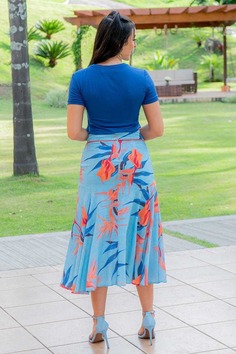 T-Shirt Luciana Pais Azul em Malha 92937