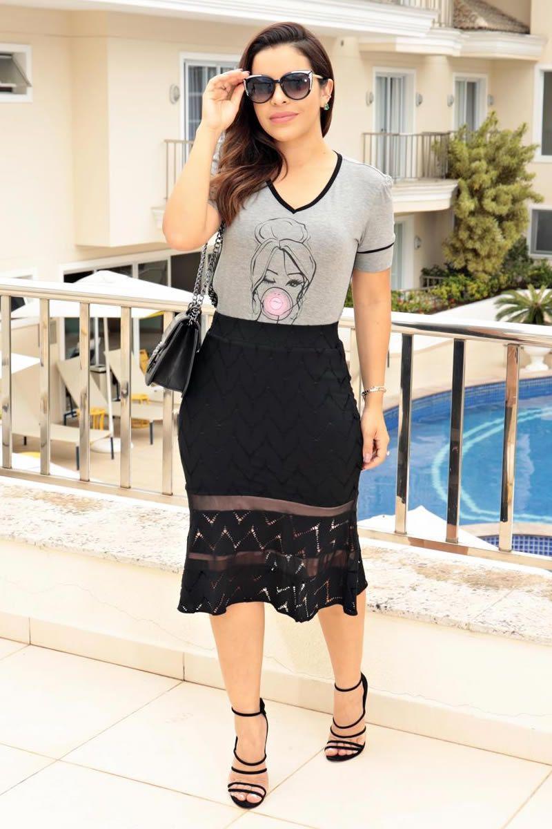 T-Shirt Luciana Pais Cinza em Malha Mescla 92648