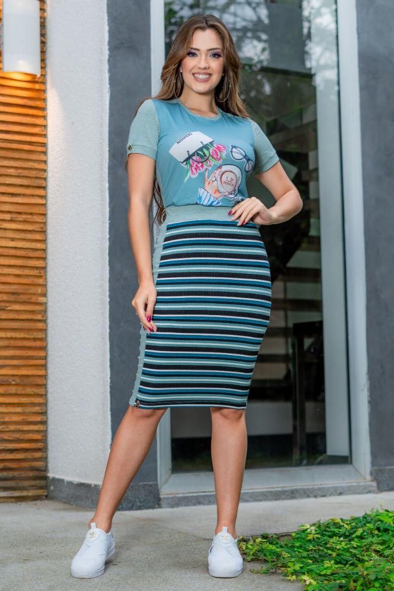 T-shirt Luciana Pais Malha Canelada Estampada 93065
