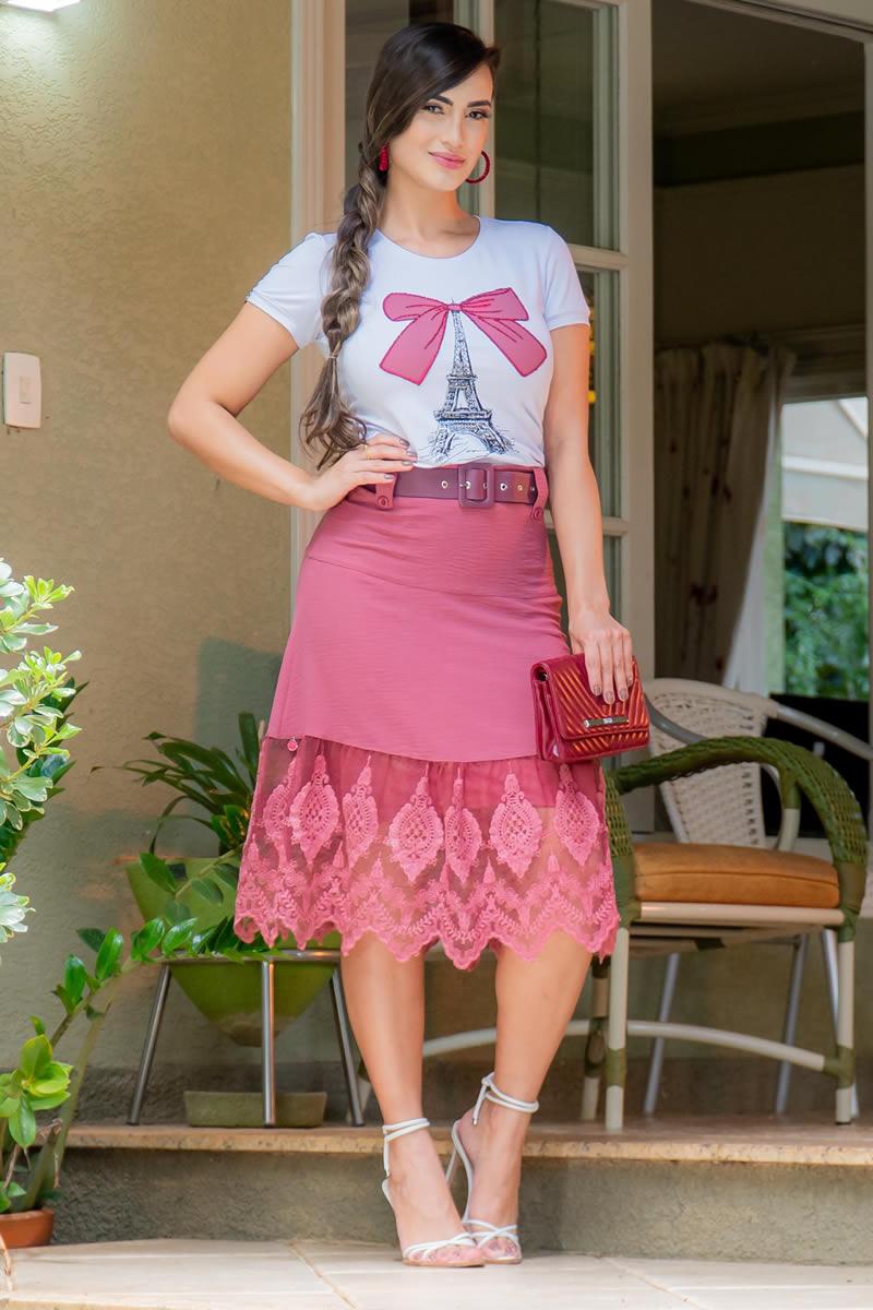 T-shirt Luciana Pais Malha Estampada 92974