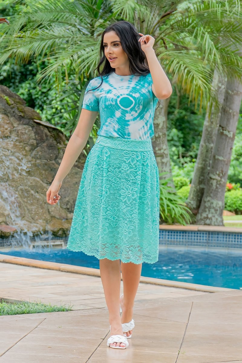 T-Shirt Luciana Pais Tie Dye Verde em Malha 92933