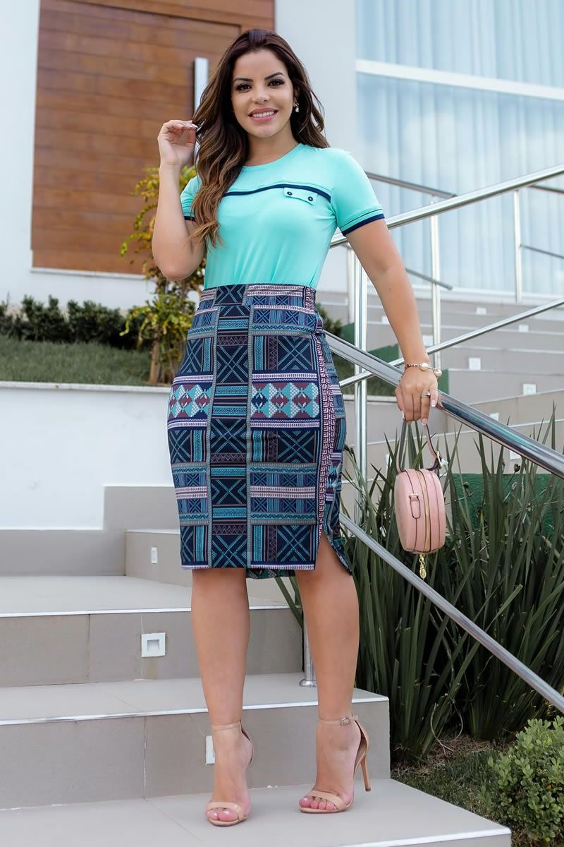 T-Shirt Malha com Detalhe Retilínea Luciana Pais 92723