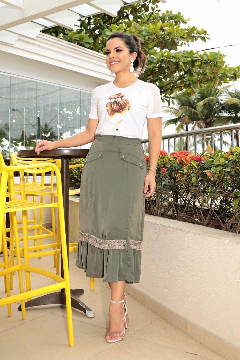T-Shirt Malha com Manga Tule e Estampa Frontal Luciana Pais 92658