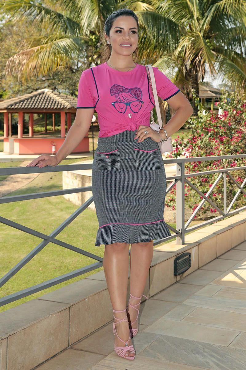 T-shirt Malha Smart com Estampa Hot Fix Luciana Pais 92604