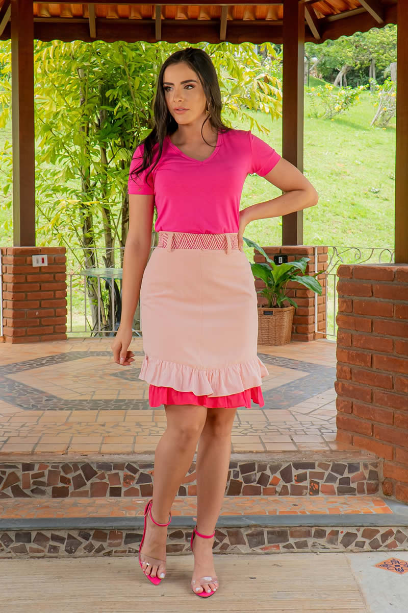 T-Shirt Pink em Malha Luciana Pais 92958