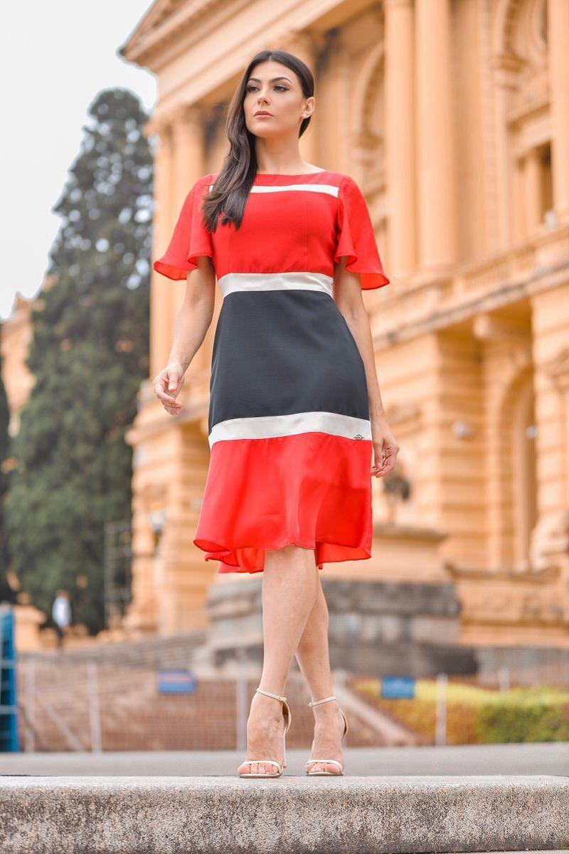 Vestido 3 Cores em Cetim com Alfaiataria e Forro Luciana Pais 92301