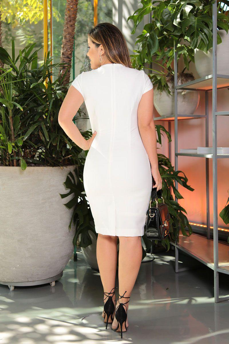 Vestido Alfaiataria com Recortes em Tela e Forro Kauly Moda Evangélica 2580