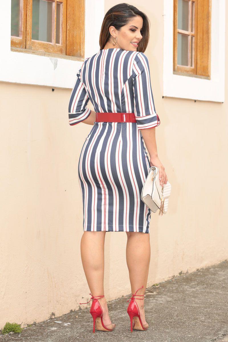Vestido Alfaiataria Listrada e Zíper Kauly Moda Evangélica 2549