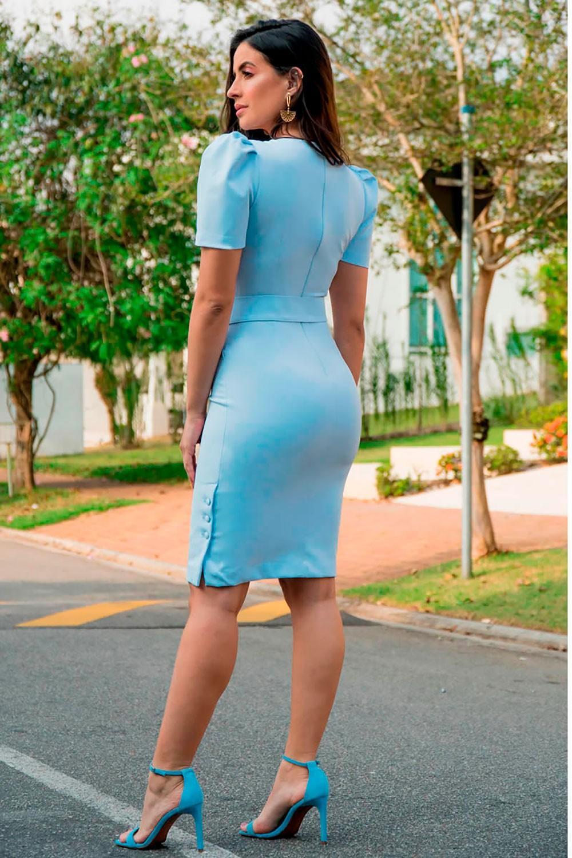 Vestido Alfaiataria Manga Princesa Luciana Pais 92863 Azul