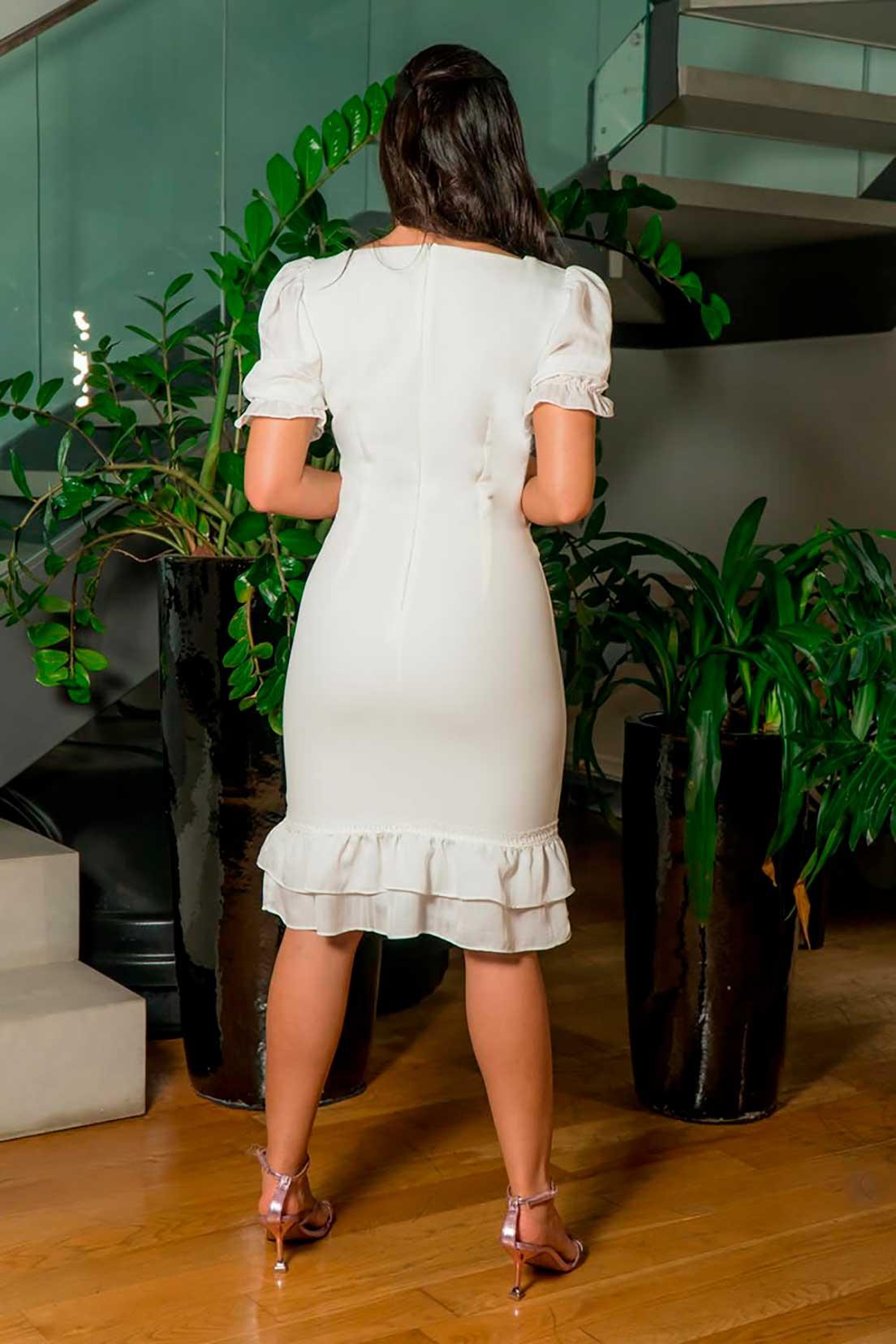 Vestido Alfaiataria Mangas Chiffon Luciana Pais 92885 Off White