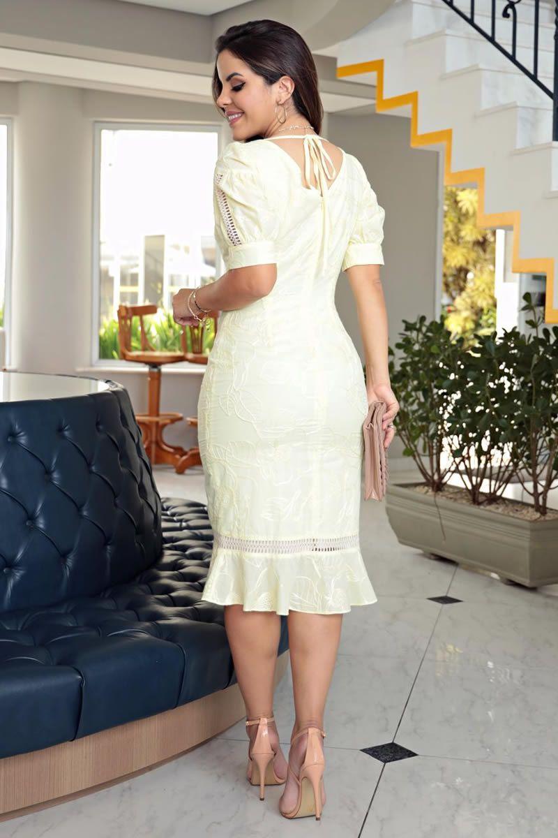 Vestido Algodão Bordado Renda Kauly 2719 Amarelo