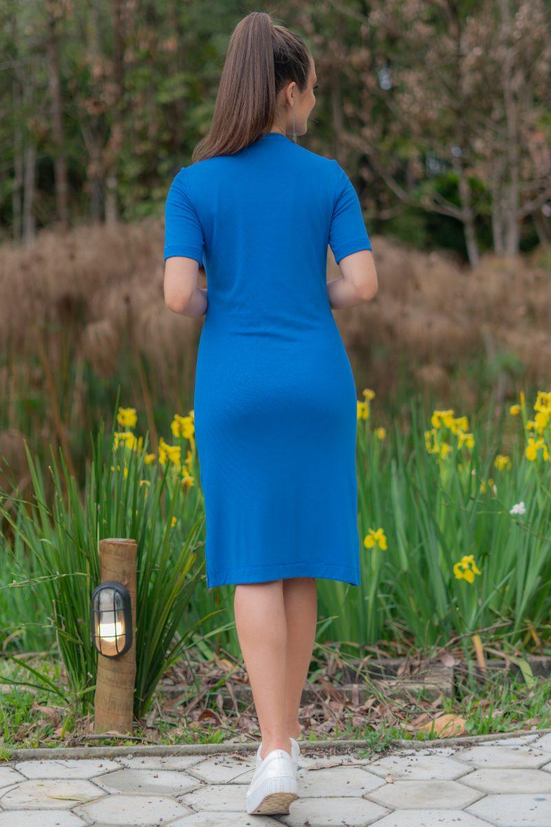 Vestido Azul Luciana Pais Malha Rayon com Elastano 93176