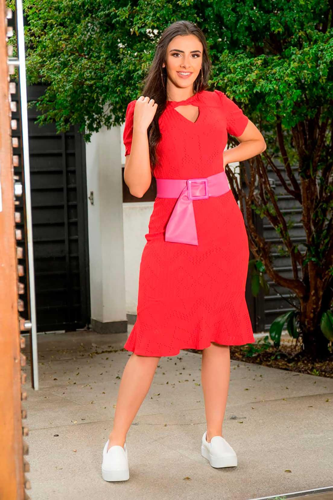 Vestido Bandagem Cinto Luciana Pais 92895 Rosa
