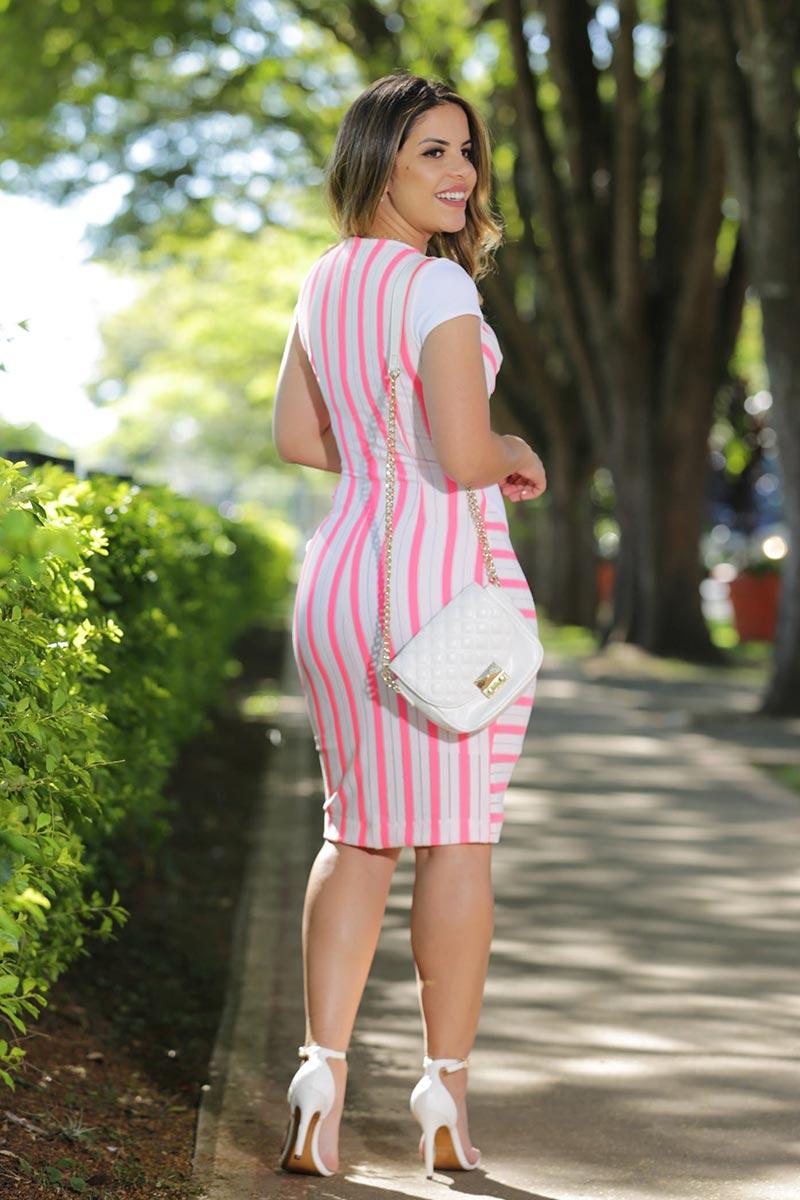 Vestido Bandagem Creponada Neon com Forro Luciana Pais 92487