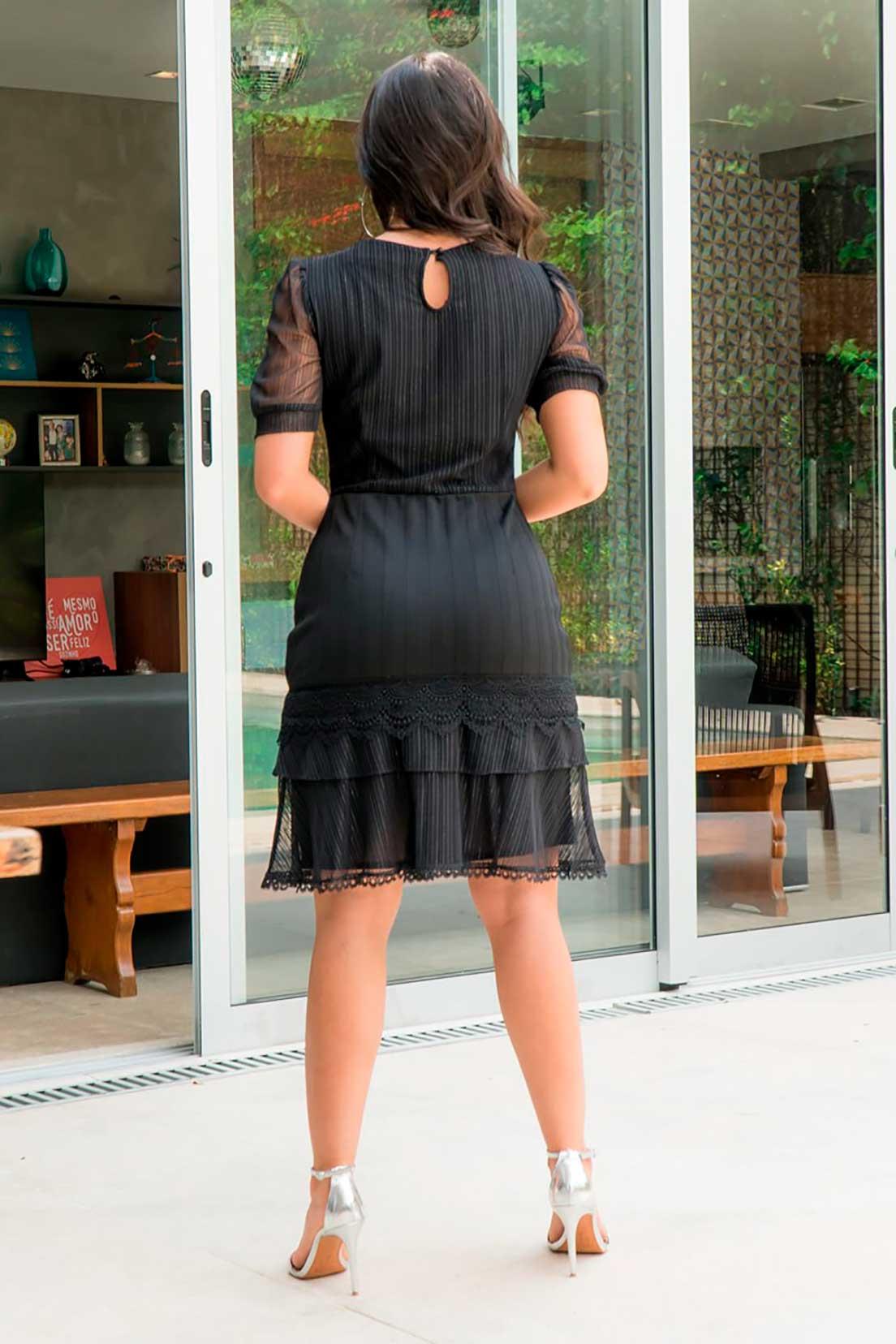 Vestido Bandagem Detalhe Tule Luciana Pais 92907 Preto