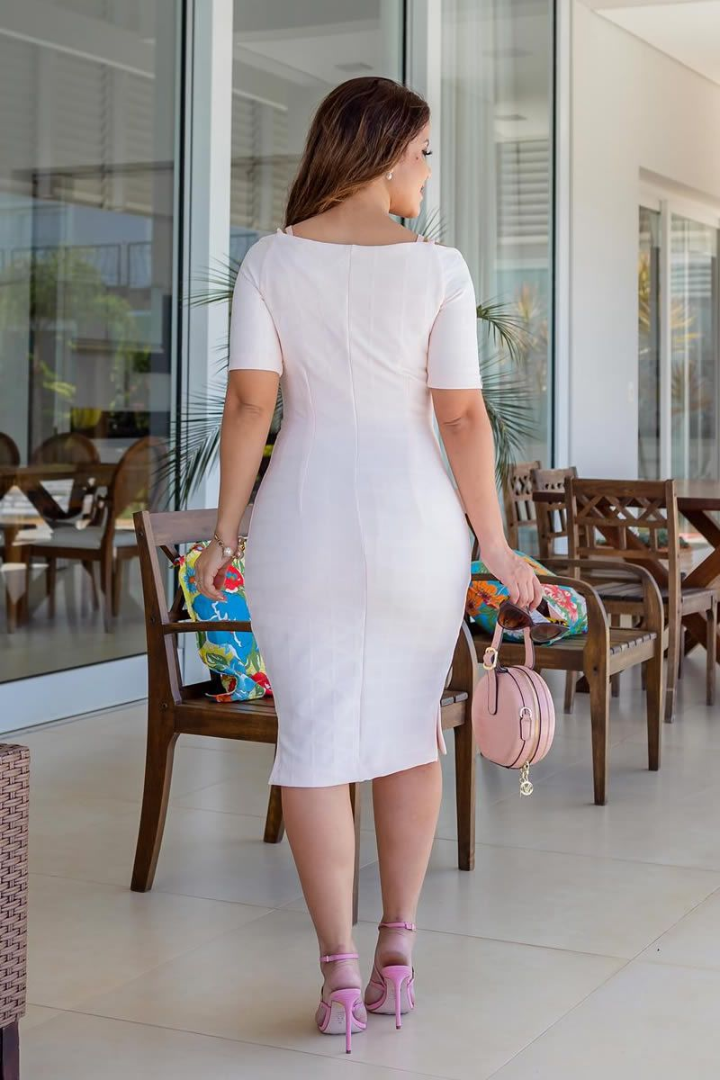 Vestido Bandagem e Detalhes Fita Retilínea Luciana Pais 92716