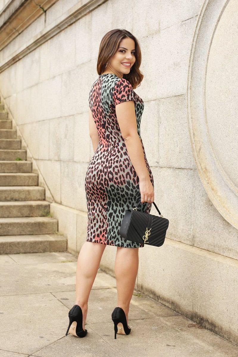 Vestido Bandagem Leve Estampa Exclusiva Animal Print Luciana Pais 92521
