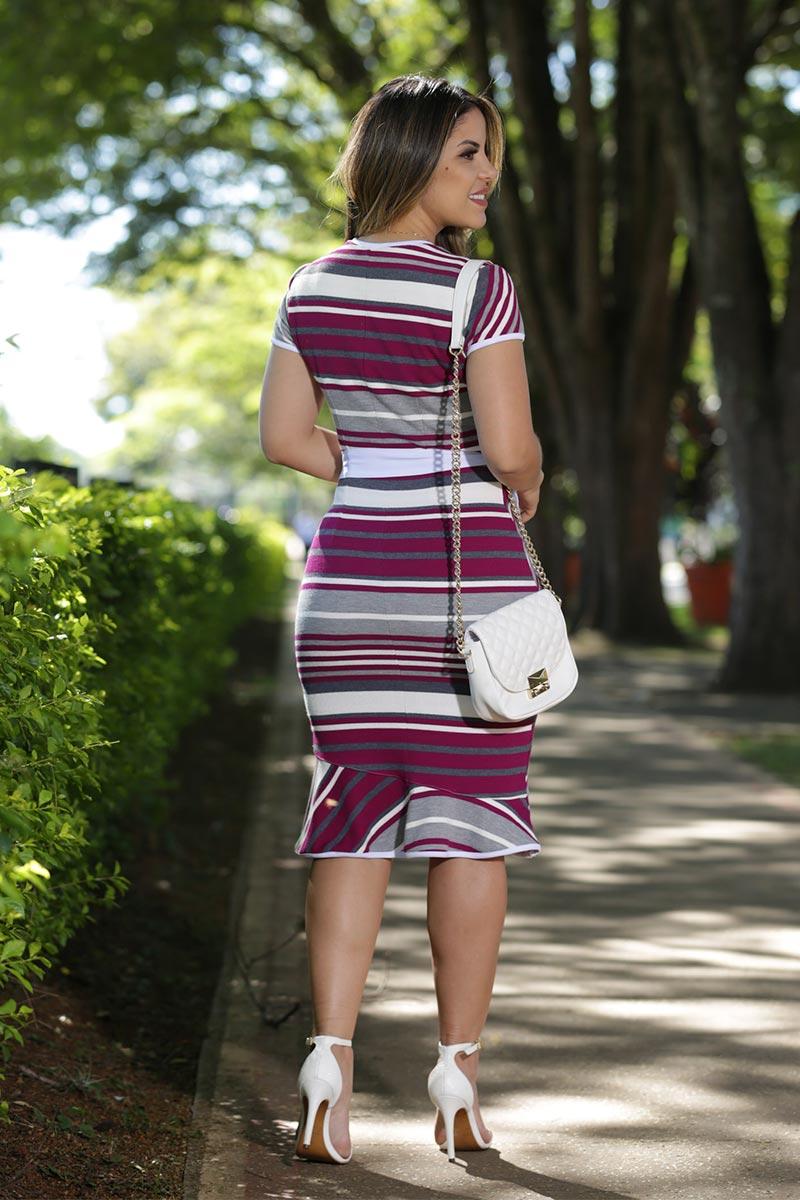 Vestido Bandagem Listrada com Forro Luciana Pais 92505