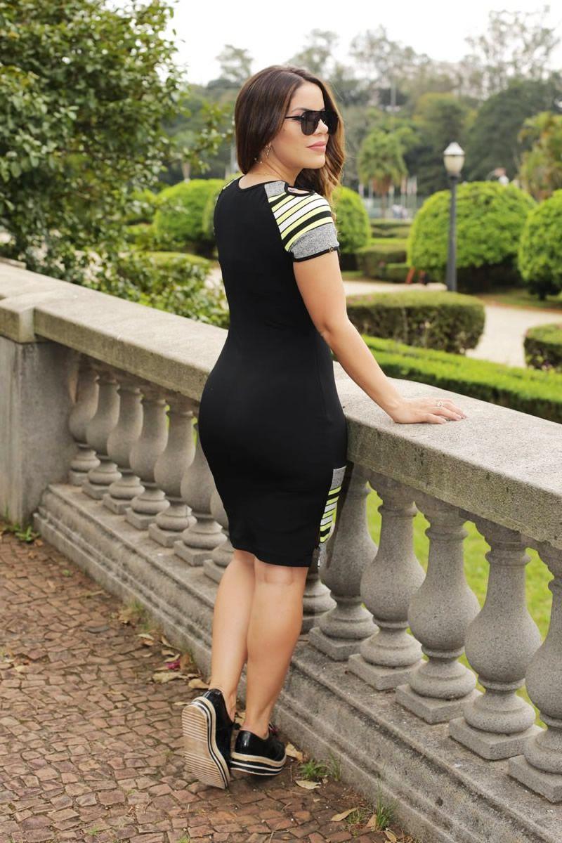 Vestido Bandagem Listrada Raglan Luciana Pais 92508