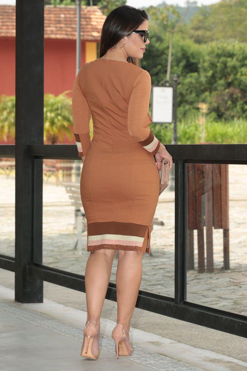 Vestido Bengaline Alfaiataria Forro Kauly Moda Evangélica 2535