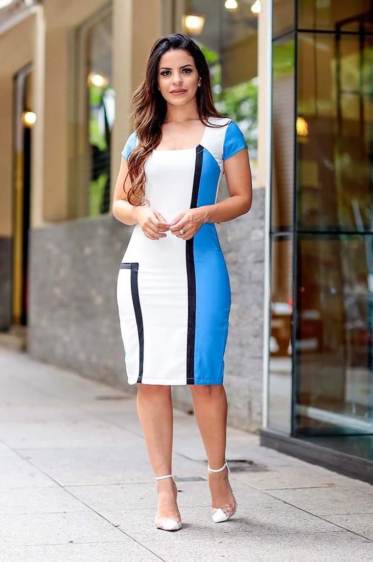 Vestido Bicolor com Contraste Monia Moda Evangélica 85103