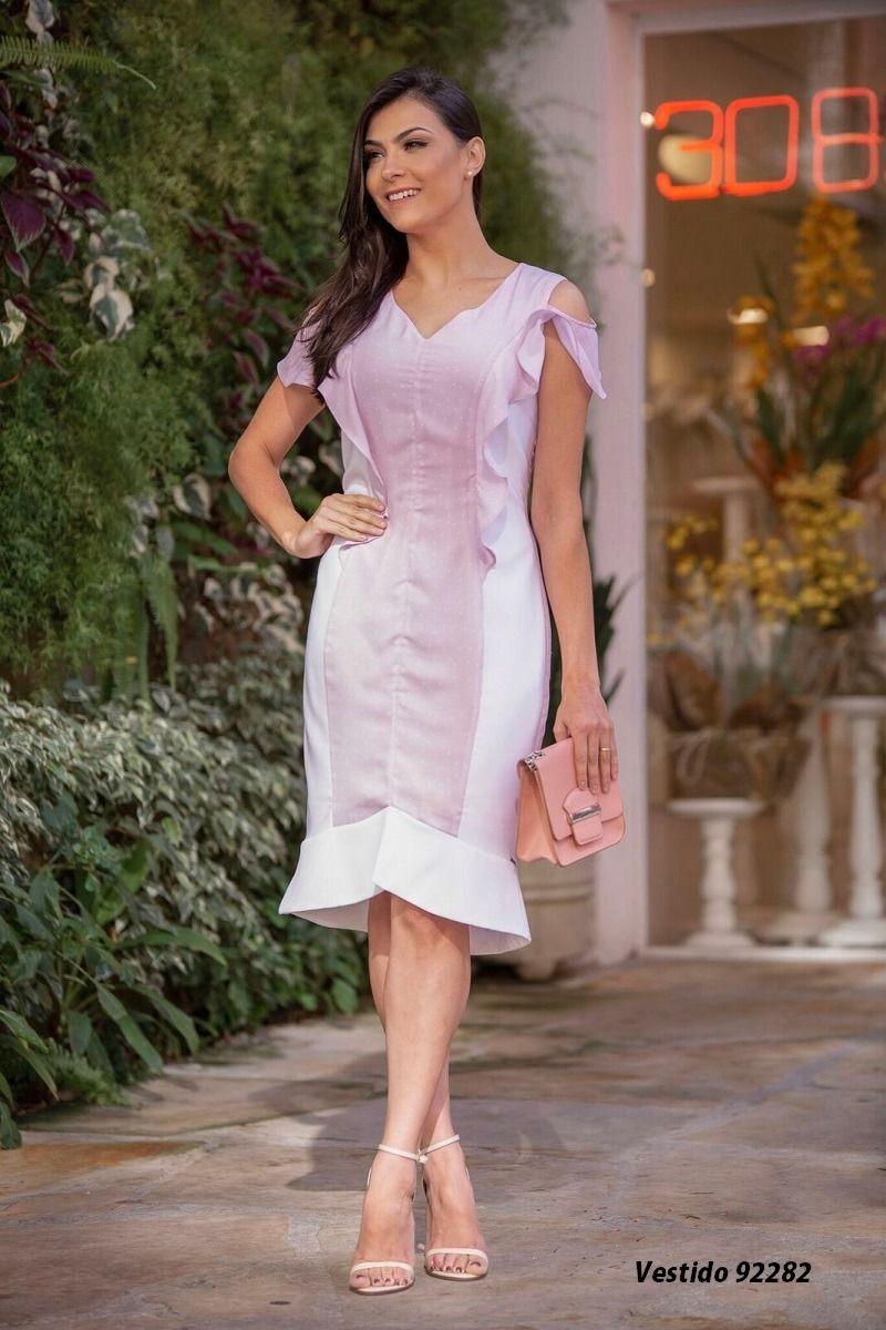 Vestido Bicolor Crepe Luciana Pais 92282