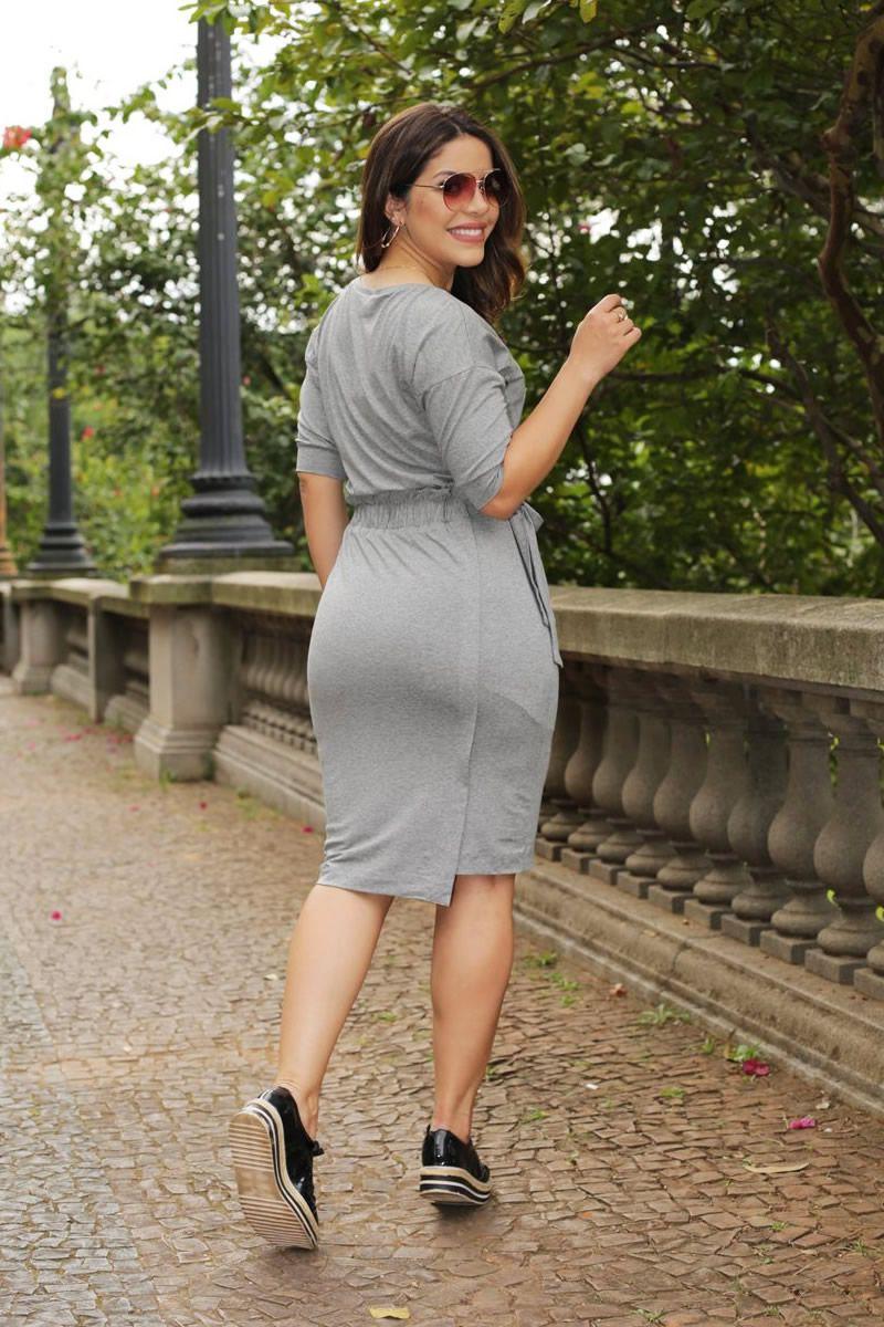 Vestido Blusê Malha Mescla com Manga Raglan Luciana Pais 92519