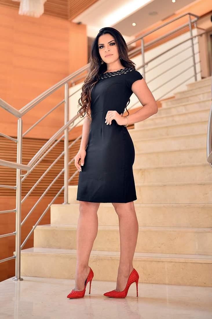 Vestido Bordado com Forro Monia Moda Evangélica 84101