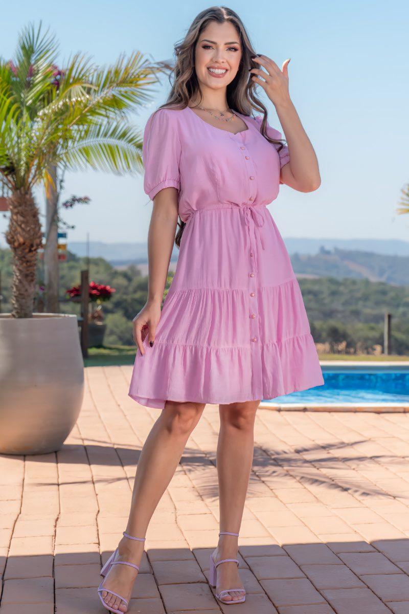 Vestido Cambraia Rosa Detalhes Bordados Luciana Pais 93131