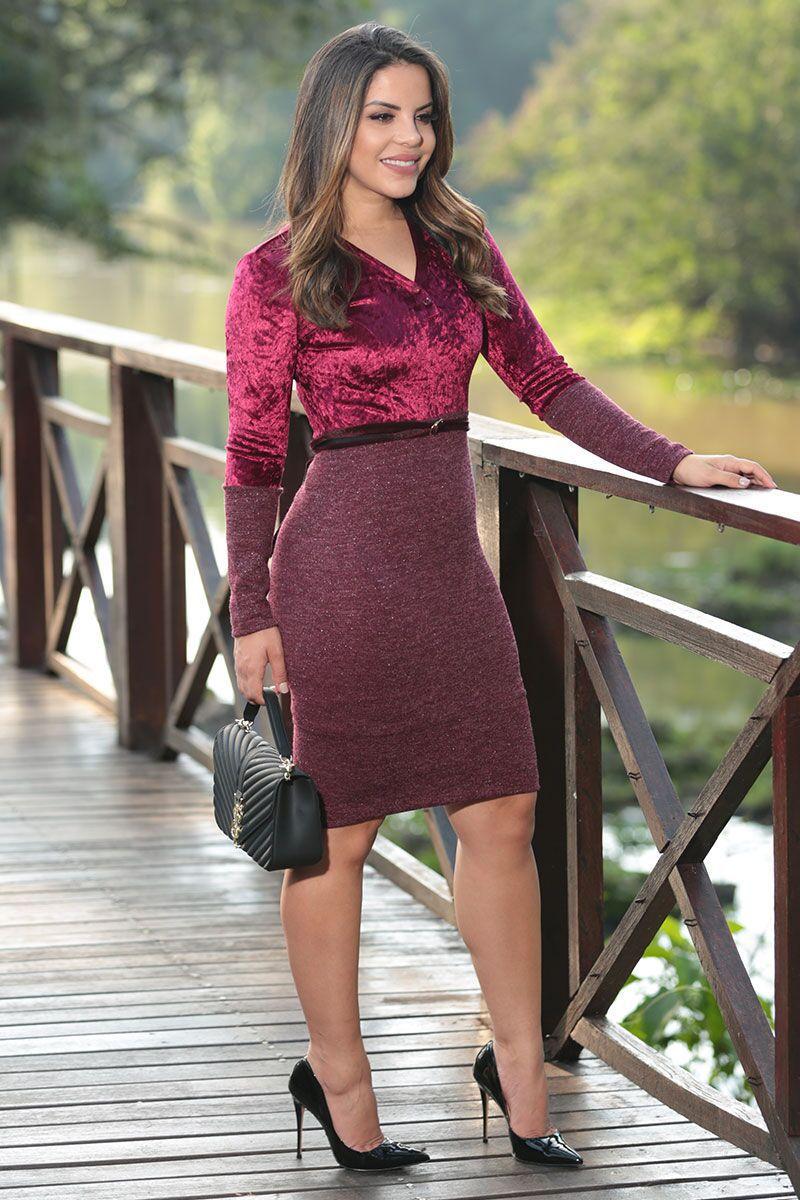 Vestido Cashimirre e Veludo com Forro Luciana Pais 92476