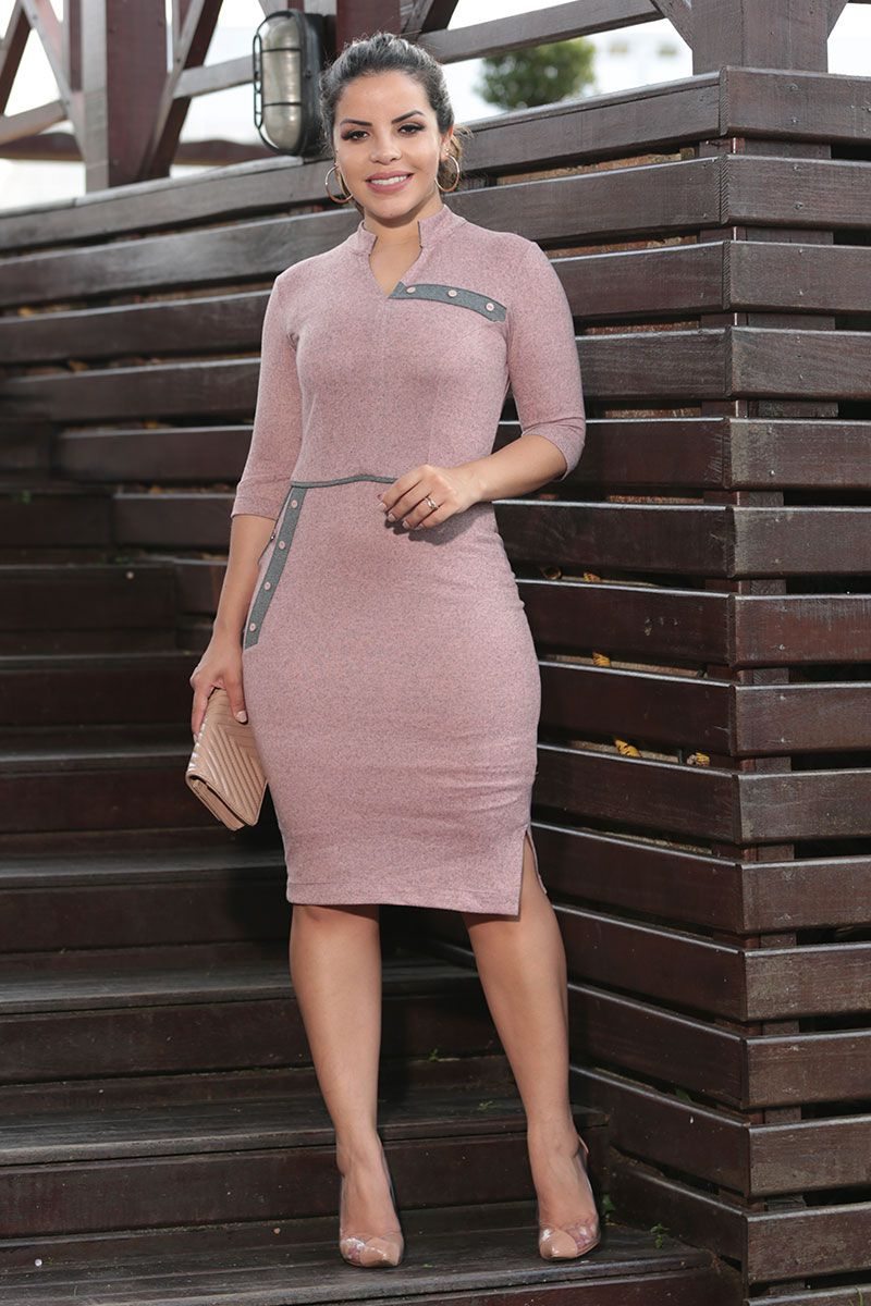 Vestido Cashmere e Detalhe Recortes Cinza Luciana Pais 92482