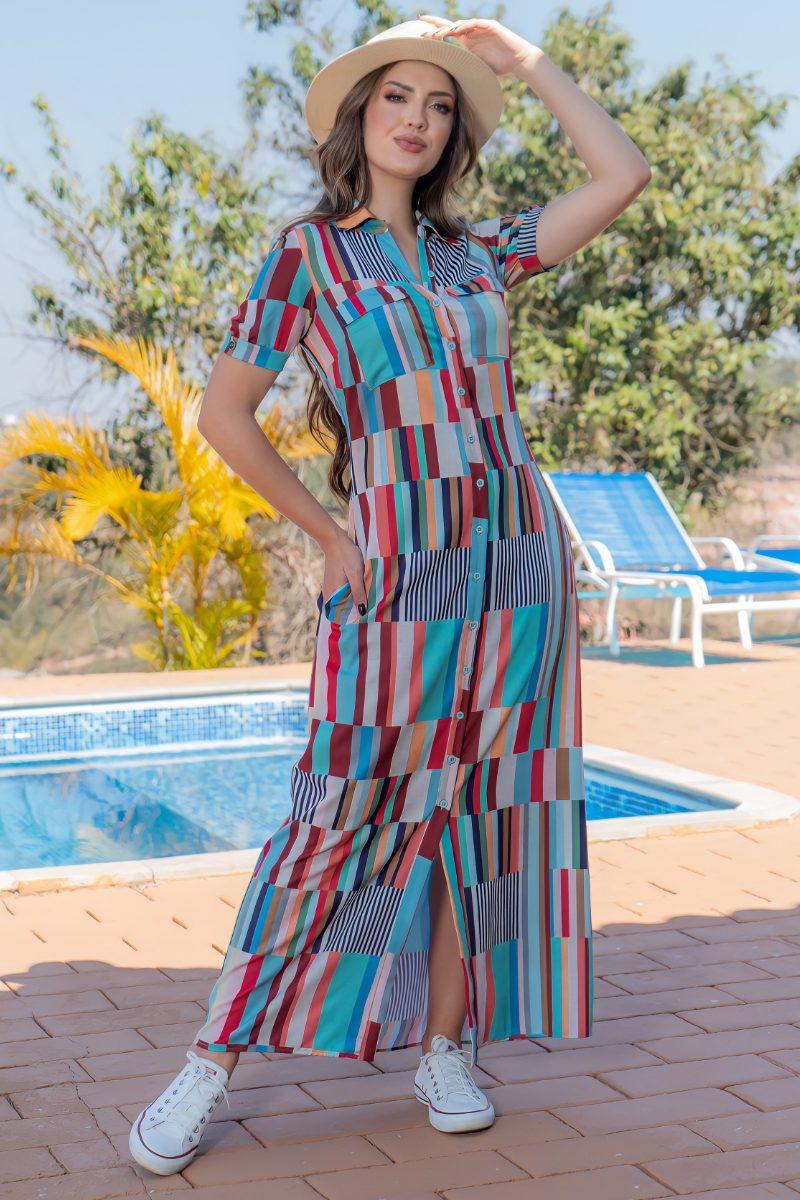 Vestido Chemise em Crepe Estampado Luciana Pais 93154