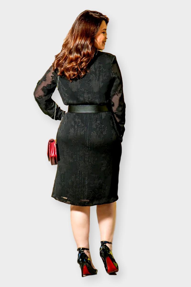 Vestido Chemise Plus Size Chiffon 2887 Preto