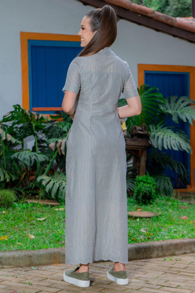 Vestido Chemissie Longo Luciana Pais Tricoline Bordado com Bolsos sem Elastano 93174