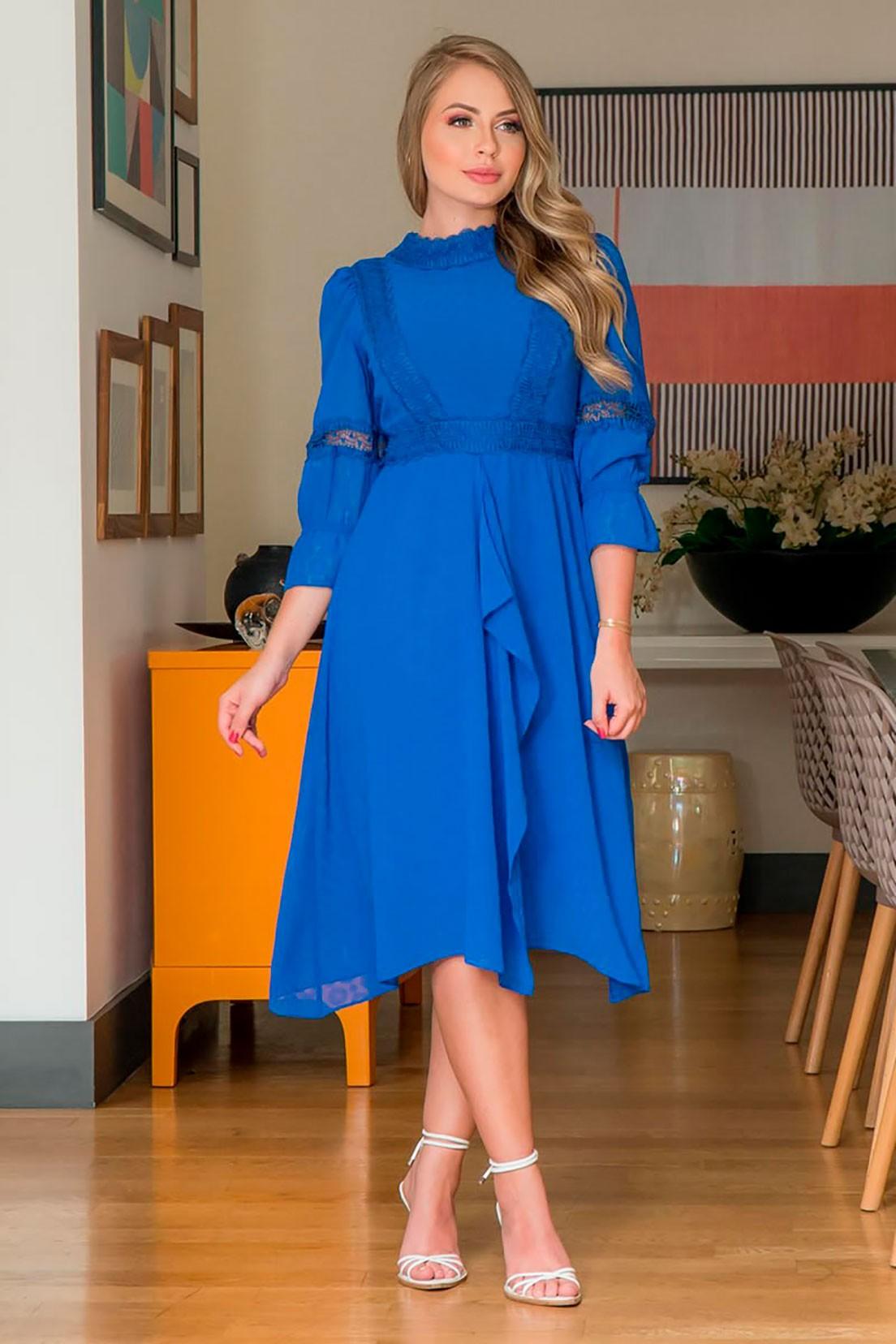 Vestido Chiffon Detalhes Renda Kauly 2939 Azul