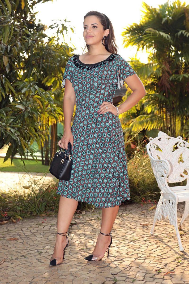 Vestido Ciganinha Evase Viscose Estampada Luciana Pais 92606