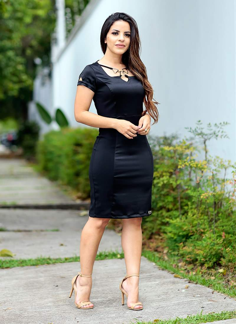 Vestido com Detalhe na Gola Monia Moda Evangélica 85105