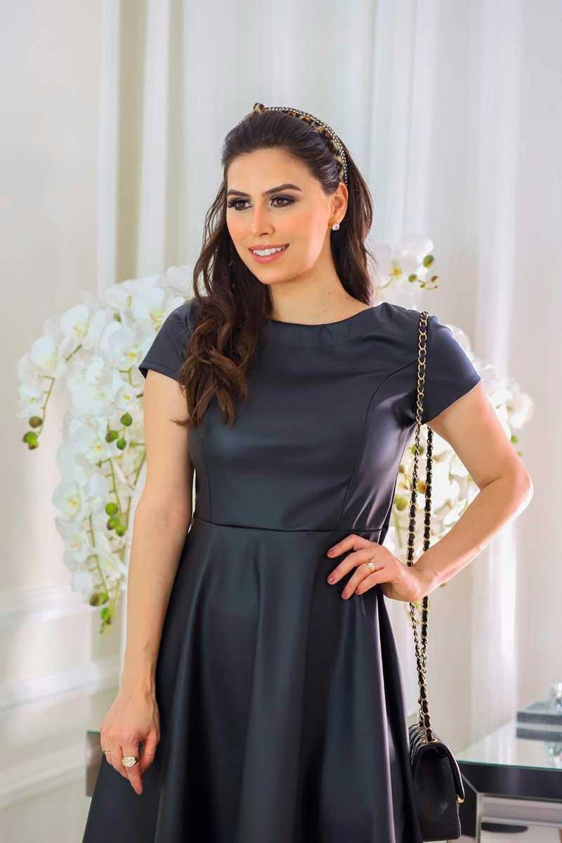 Vestido Couro Sintético Tamara Fagian 20615 Preto