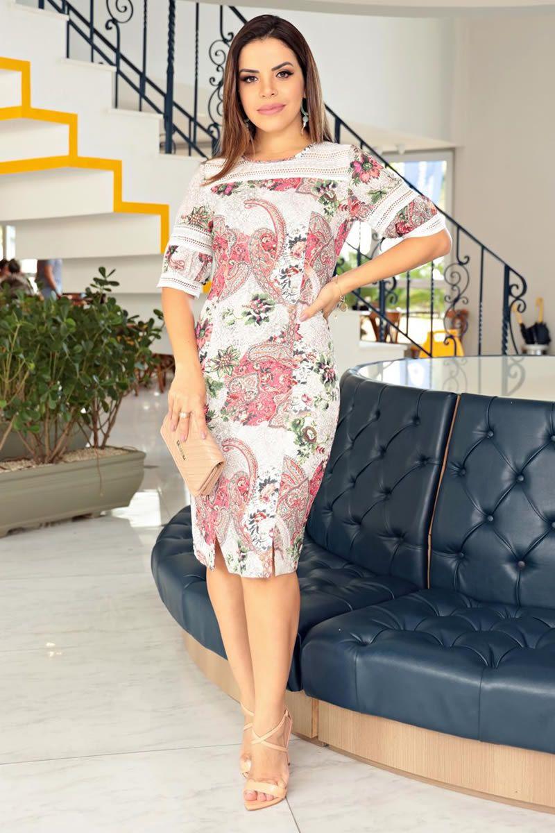 Vestido Crepe Bubble com Renda Kauly 2720