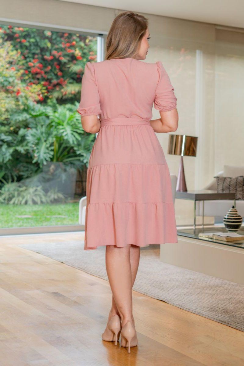 Vestido Crepe Cinto Faixa Kauly 3145