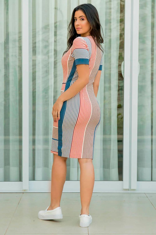 Vestido Crepe de Malha com Recortes Luciana Pais 92868 Listrado