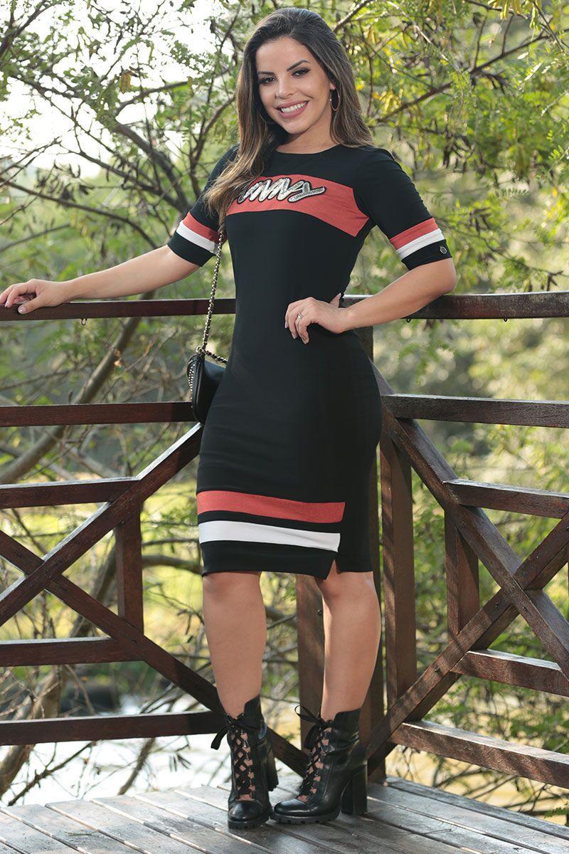 Vestido Crepe de Malha Gliter Luciana Pais 92481 Preto