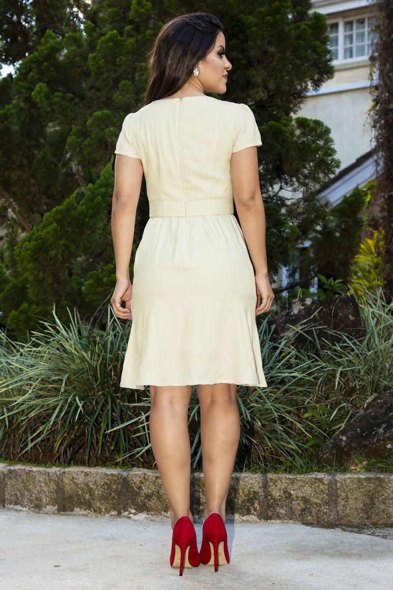 Vestido Crepe Detalhe Decote Kauly 2265