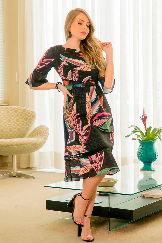 Vestido Crepe Detalhes e Estampa Exclusiva Kauly 2915
