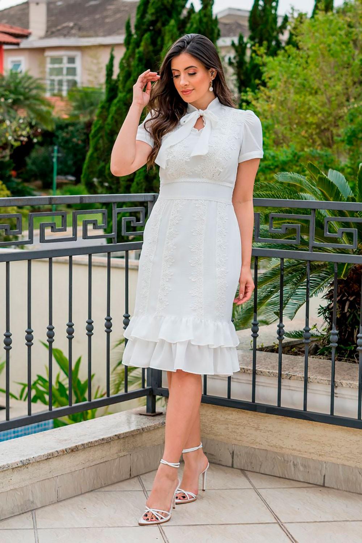 Vestido Crepe Detalhes Renda Luciana Pais 92847 Off White