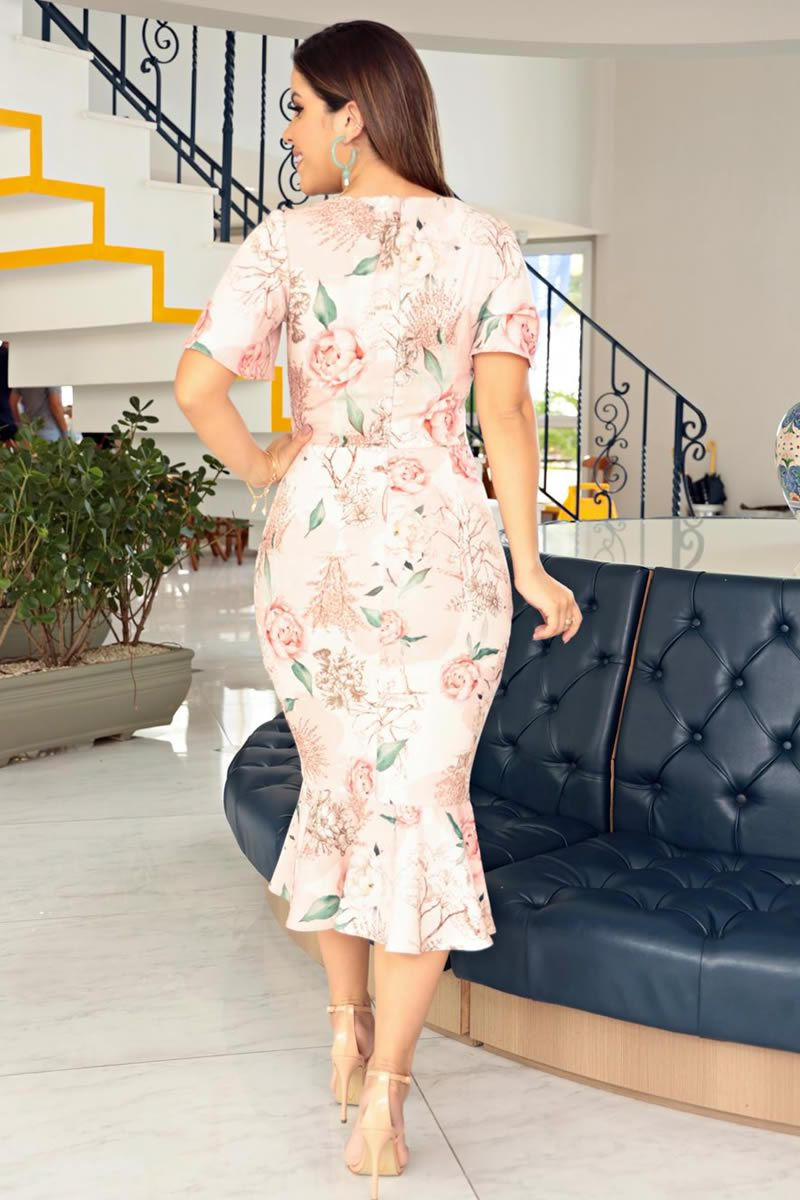 Vestido Crepe Elastic Estampa Exclusiva Kauly 2715