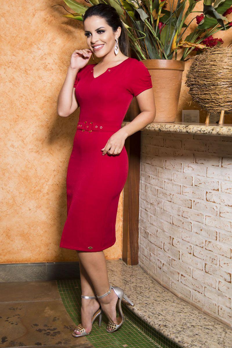 Vestido Crepe em Malha com Forro Detalhe Cinto LP 92204