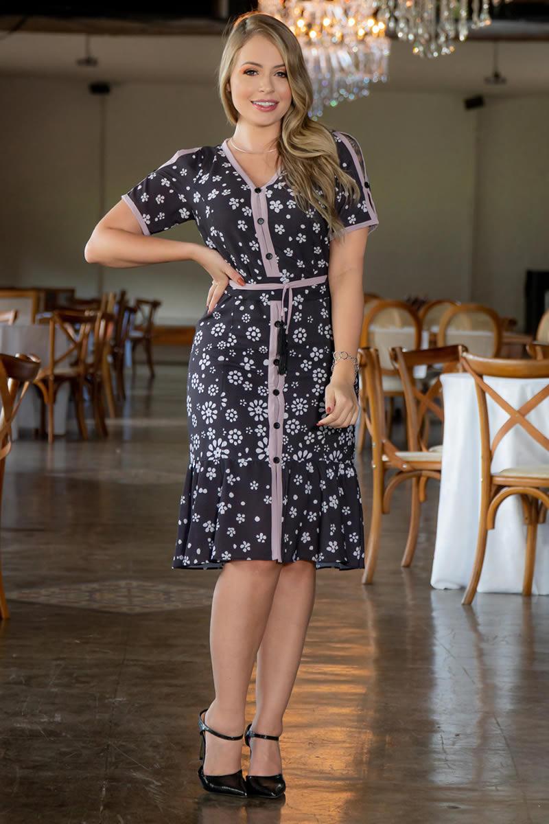 Vestido Crepe Estampa Vista Fake Kauly 3044