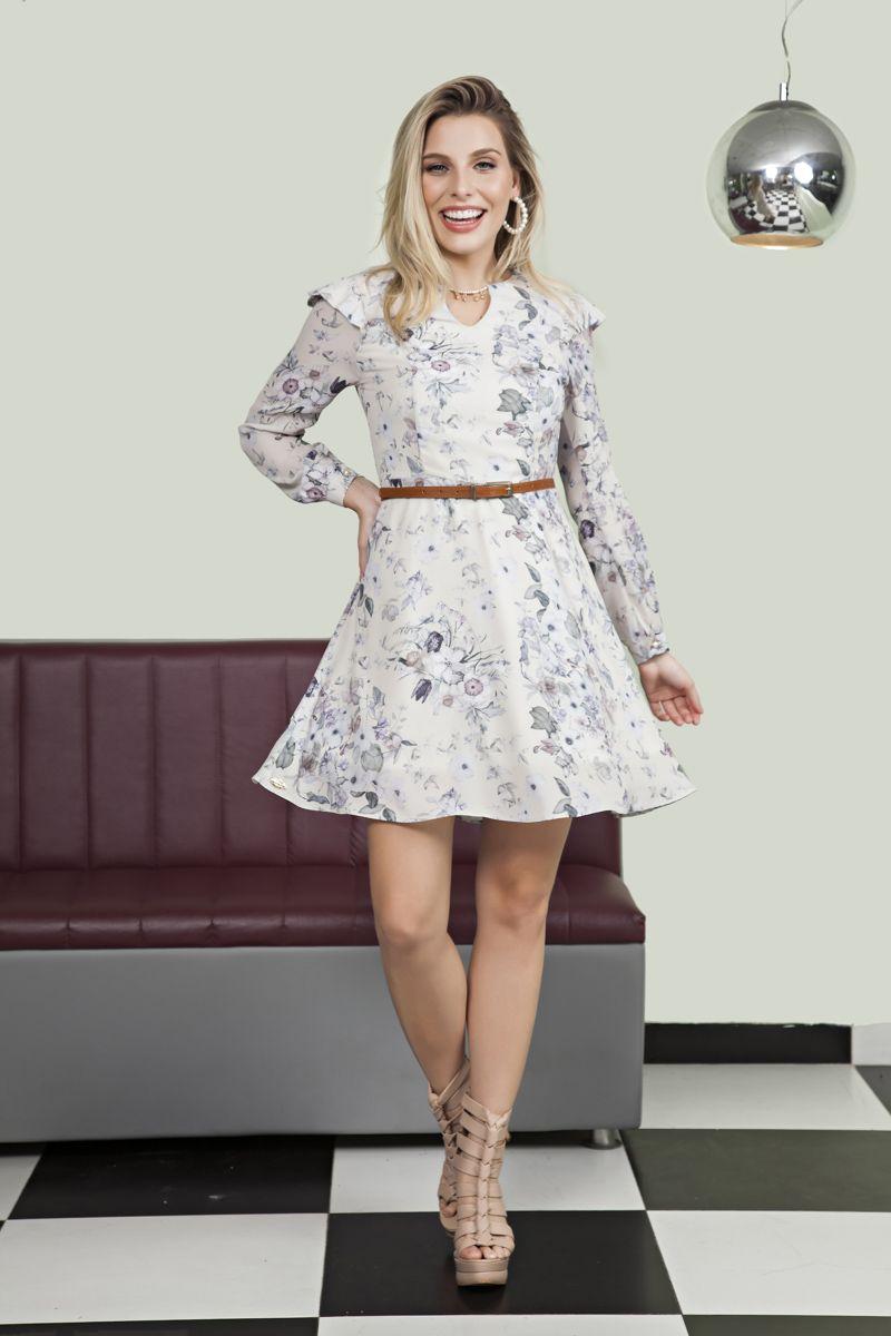 Vestido Crepe Estampada Luciana Pais 92134