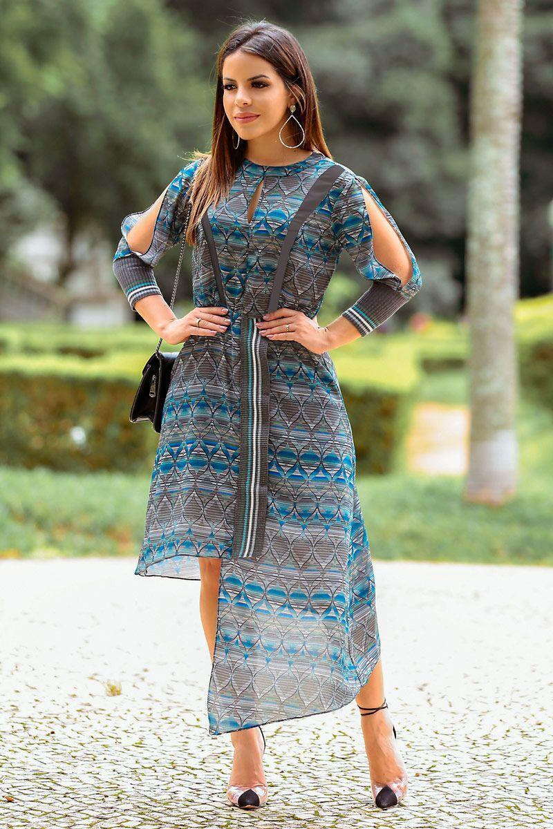 Vestido Crepe Estampado Kauly 2491 Azul